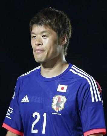 Japan's national soccer team player Hiroki Sakai attends a send-off ceremony for the 2014 World Cup, in Tokyo