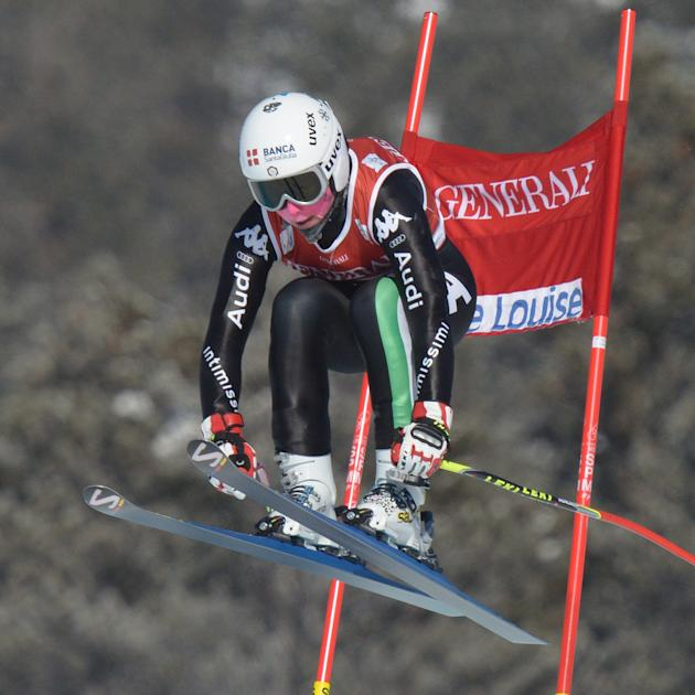 Daniela Merighetti, of Italy, competes during the women's downhill race at Lake Louise, Alberta, Friday, Dec. 6, 2013