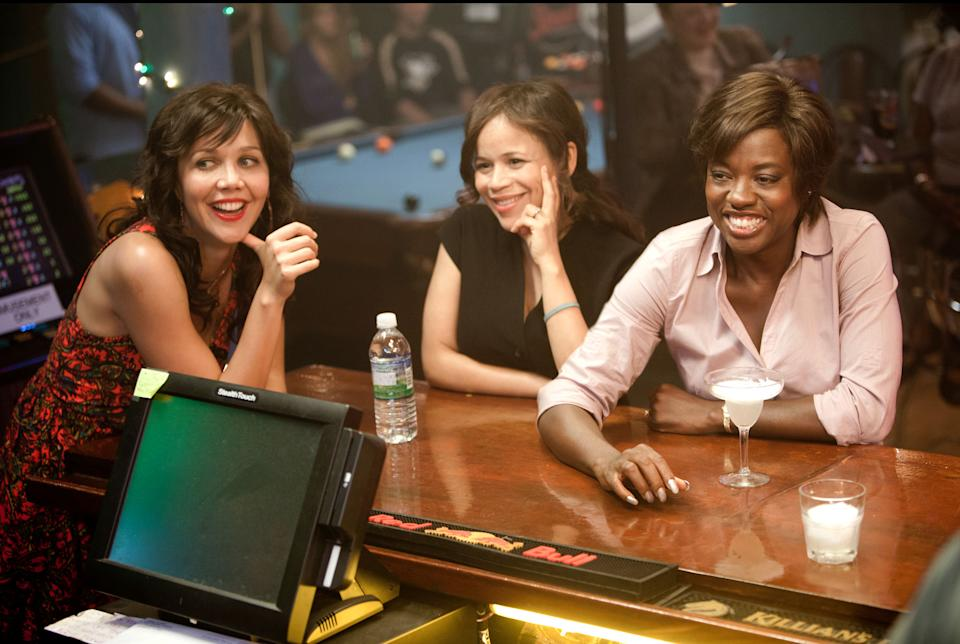 "This film image released by 20th Century Fox shows Maggie Gyllenhaal, left, Rosie Perez and Viola Davis, right, in a scene from ""Won't Back Down.""  (AP Photo/20th Century Fox, Kerry Hayes)"