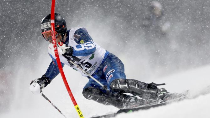 Chodounsky of the U.S. competes in men's Alpine Skiing World Cup night slalom in Schaldming