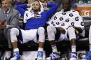 Golden State Warriors guard Stephen Curry, left, and Draymond Green during the fourth quarter of an NBA basketball game against the Phoenix Suns, Friday, Nov. 27, 2015, in Phoenix. (AP Photo/Rick Scuteri)
