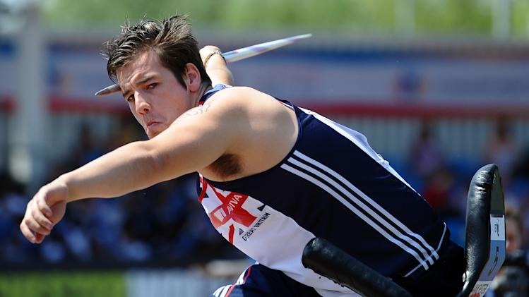 Great Britain's Nathan Stephens takes part in the Men's Seated Javelin during the BT Paralympic World Cup at Sportcity in Manchester, north-west England on May 22, 2012.    AFP PHOTO/ PAUL ELLISPAUL ELLIS/AFP/GettyImages