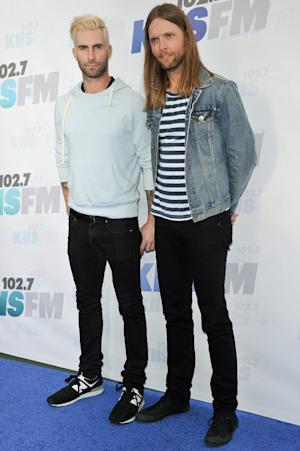 Adam Levine, left, and James Valentine arrive at Wango Tango held at StubHub Center on Saturday, May 10, 2014, in Carson, Calif. (Photo by Richard Shotwell/Invision/AP)