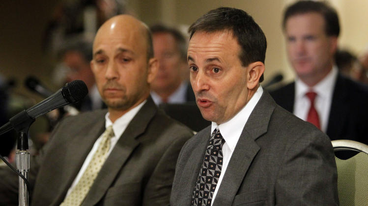 Doug Martin of SMIT Salvage, right, testifies alongside his attorney, Bijan Siahatgar, during Deepwater Horizon joint investigation hearings held by the U.S. Coast Guard and the Bureau of Ocean Management Regulation and Enforcement in Metairie, La., Monday, Oct. 4, 2010. (AP Photo/Patrick Semansky, pool)