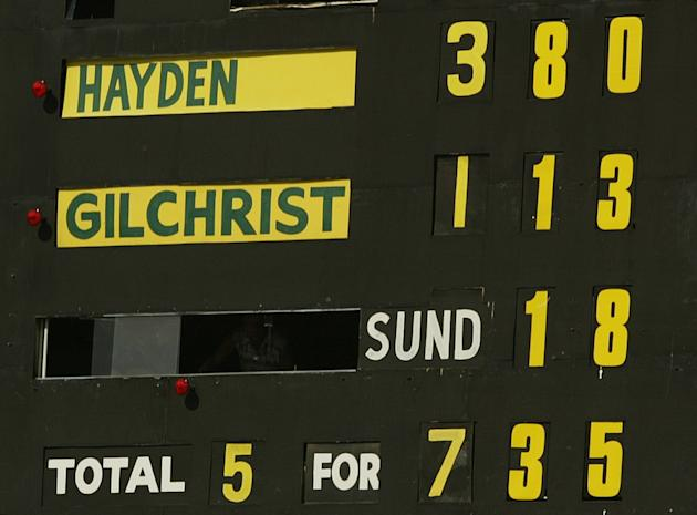 The Scoreboard shows Matthew Hayden of Australia's score of 380 breaking Brian Lara of The West Indies world record of 375