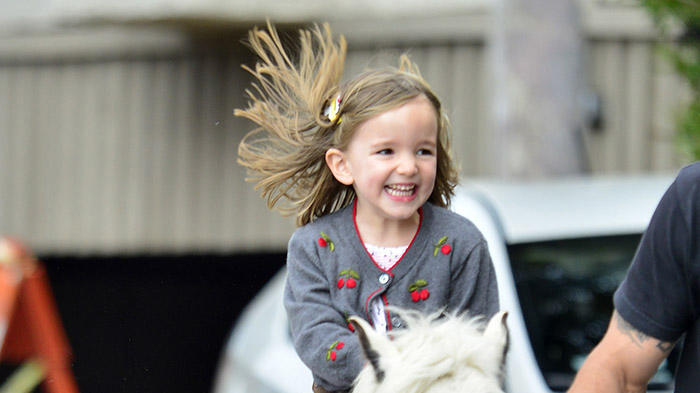 Jennifer Garner's daughter Seraphina Affleck is seen riding a pony at the farmer's market