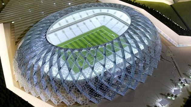 Qatar presents a model of its Al-Wakrah stadium as it bids to host the FIFA 2022 World Cup during the FIFA Inspection Tour for the country's bid, in Doha September 16, 2010
