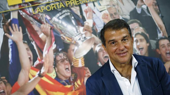 Former Barcelona president Laporta and candidate for FC Barcelona's next elections poses during an interview in their candidature headquarters in Barcelona