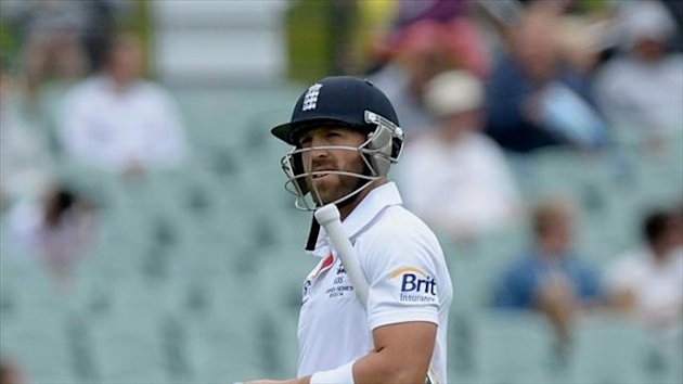 England's Matt Prior has admitted to feeling embarrassed by the first innings collapse in the second Ashes Test in Adelaide.