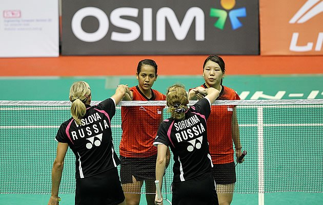 Shinta Mulia Sari and Yao Lei (in red) are tipped to reach the finals of the Li-Ning Open (Getty Images)
