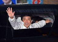 &lt;p&gt;Japan&#39;s main opposition Liberal Democratic Party (LDP) leader Shinzo Abe waves to supporters after speaking in support of his party&#39;s candidate in Matsudo city, suburban Tokyo on December 15, 2012. Voters in Japan go to the polls on Sunday in an election likely to return long-ruling conservatives to power after three years in the wilderness.&lt;/p&gt;