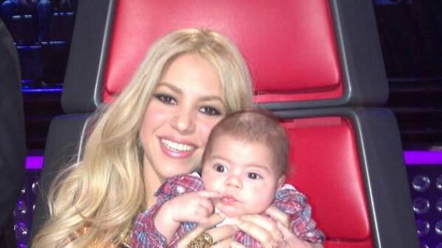 Shakira and son Milan on 'The Voice' set on April 11, 2013 -- Shakira