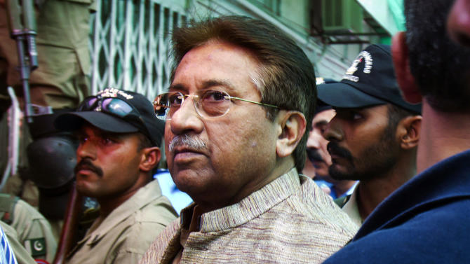 FILE - In this April 20, 2013, file photo, Pakistan's former President and military ruler Pervez Musharraf arrives at an anti-terrorism court in Islamabad, Pakistan. A defense lawyer Ilyas Saddiqi says a court granted Musharraf bail Monday, Nov. 4, 2013 in a case involving his alleged role in the death of a radical cleric killed during a raid on a hard-line mosque in Islamabad in 2007. (AP Photo/Anjum Naveed, File)
