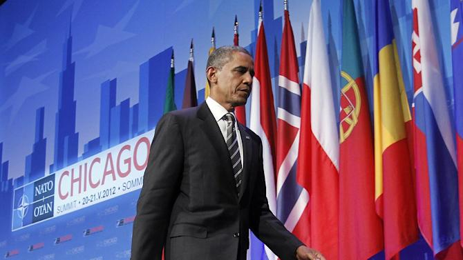 President Barack Obama walks off stage at the end of his news conference at the closing of the NATO Summit in Chicago, Monday, May 21, 2012. (AP Photo/Pablo Martinez Monsivais)