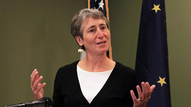 FILE - This Sept. 3, 2013 file photo shows Interior Secretary Sally Jewell speaking in Anchorage, Alaska. Jewell says Congress needs to do more than talk when it comes to national parks, forests and other public lands. In her first major address since taking office this spring, Jewell called on Congress to fight for parks and other public lands in the federal budget. (AP Photo/Dan Joling, File)