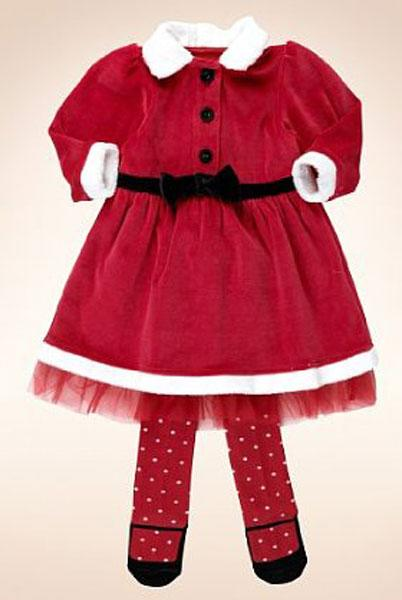 2 Piece Cotton Rich Santa Dress & Tights Outfit