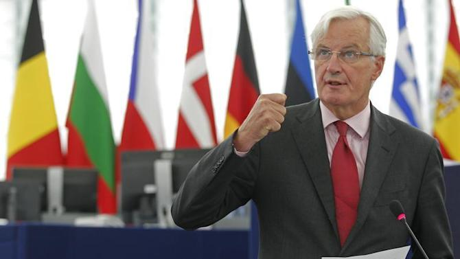 European Commissioner for Internal Market and Services Barnier addresses the European Parliament during a debate on the European Banking Union and the banks supervision in Strasbourg