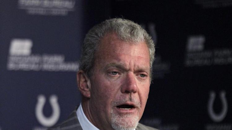 Indianapolis Colts owner Jim Irsay announces that head coach Chuck Pagano has been diagnosed with acute promyelocytic leukemia, during an NFL football news conference at the team's headquarters in Indianapolis, Monday, Oct. 1, 2012. (AP Photo/Michael Conroy)