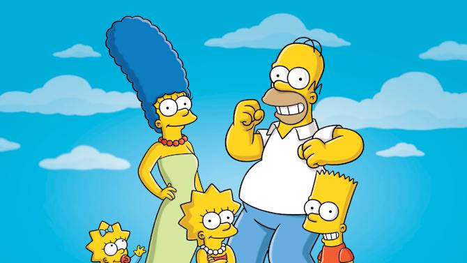 """FILE - In this undated publicity photo released by Fox, characters from the animated series, """"The Simpsons,"""" from left, Maggie, Marge, Lisa, Homer and Bart, are shown. The show's producer said Tuesday, Oct. 4, 2011, that the show can't continue under its current financial model. That follows a report that big pay cuts are being sought for the actors who provide voices for Homer, Marge and Bart Simpson and the other characters. (AP Photo/Fox)"""