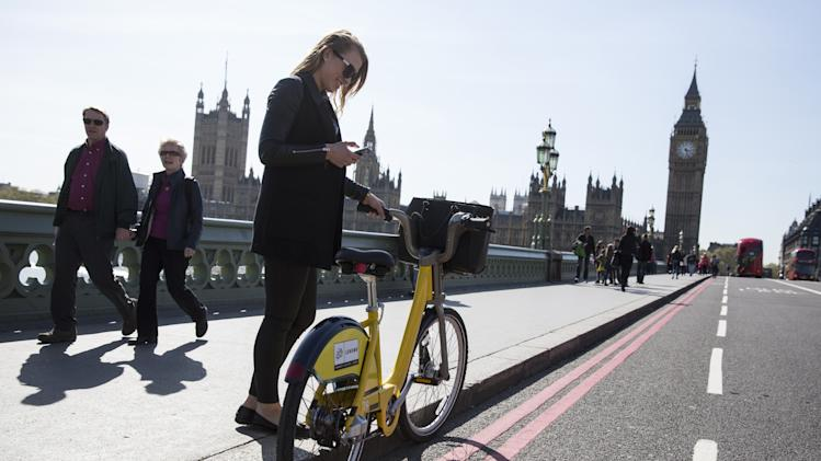 A Specially Painted Yellow London Cycle Hire Bike Ahead Of The Tour De France Arriving In The Capital