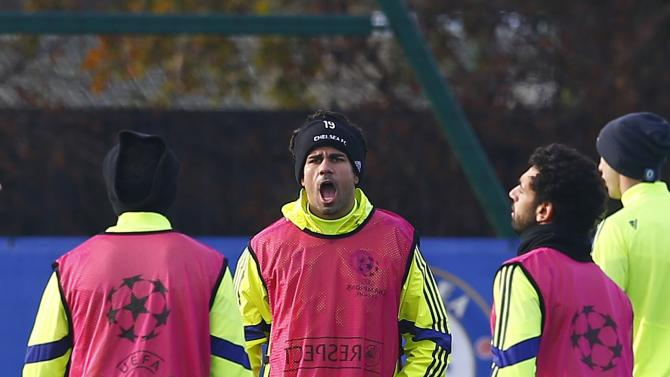 Chelsea's Diego Costa reacts during a team training session in Cobham
