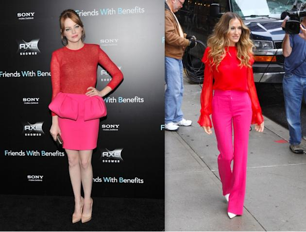 Both Emma Stone (23) and Sarah Jessica Parker (46) dipped their toes in the bright colorblocking game this year. But it was SJP who knocked it out of the park, looking so effortless and chic, while Em