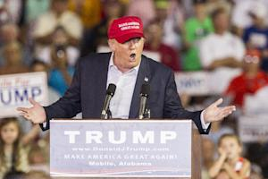 Republican presidential candidate Donald Trump speaks …