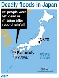 <p>Graphic showing Kyushu in southern Japan where residents braced for a typhoon on Tuesday after torrential rains over the weekend left at least 32 dead or missing</p>