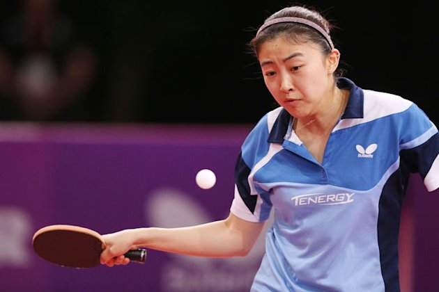 Spain's Yanfei Shen plays against Turkey's Melek Hu on May 17, 2013 in Paris during the World Table Tennis Championships