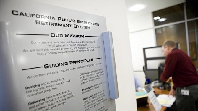 Calpers mission statement is seen posted on the wall in the regional office in Sacramento.