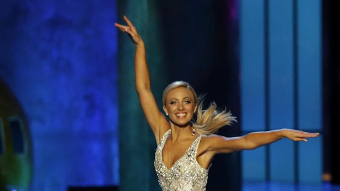 Miss Florida Victoria Cowen dances during the talent portion of the Miss America 2015 pageant, Sunday, Sept. 14, 2014, in Atlantic City, N.J. (AP Photo/Mel Evans)
