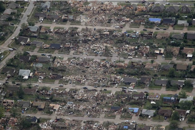An aerial view shows the path of destruction in the aftermath of a tornado, at a neighborhood in Moore, Oklahoma