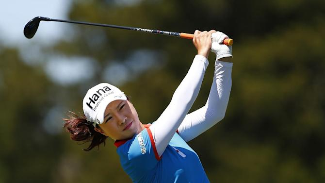 Hee Young Park of South Korea hits her tee shot on the 11th hole during the second round of the ShopRite LPGA Classic golf tournament, Saturday, May 30, 2015, in Galloway Township, N.J. (AP Photo/Rich Schultz)