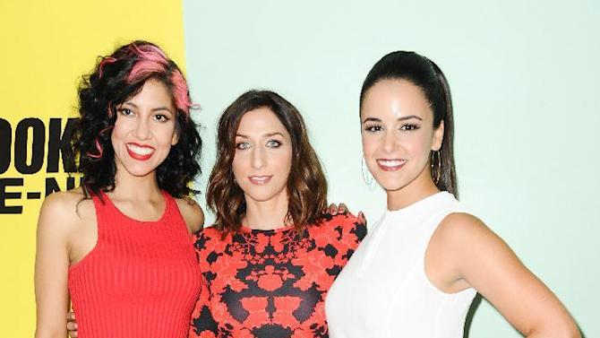 Stephanie Beatriz, from left, Chelsea Peretti, and Melissa Fumero arrive at the Brooklyn Nine-Nine FYC Event held at UCB Theatre on Tuesday, June 2, 2015, in Los Angeles. (Photo by Richard Shotwell/Invision/AP)