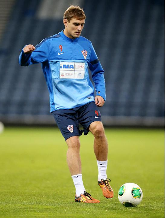 Croatia's Nikica Jelavic during a team training session at Hampden Park, Glasgow, Scotland, Monday Oct. 14, 2013. Croatia face Scotland in a World Cup qualifying Group A  soccer match on Tuesday