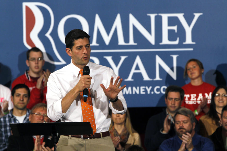 Republican vice presidential candidate, Rep. Paul Ryan, R-Wis., gestures as he speaks during a campaign event in Racine, Wis., Wednesday, Oct. 31, 2012.  (AP Photo/Mary Altaffer)