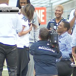 Seattle Seahawks cornerback DeShawn Shead postgame marriage proposal