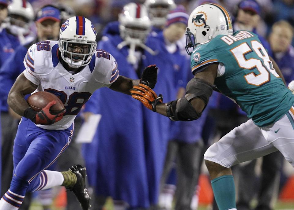 Buffalo Bills running back C.J. Spiller (28) goes against Miami Dolphins' Karlos Dansby (58) during the first half of an NFL football game on Thursday, Nov. 15, 2012, in Orchard Park, N.Y. (AP Photo/Gary Wiepert)