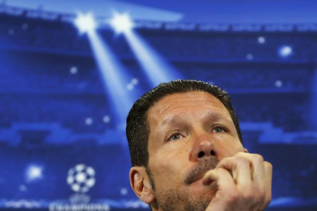 Atletico Madrid coach Diego Simeone, of Argentina, gestures during a press conference ahead of Tuesday's Champions League, round of 16, second leg, soccer match against AC Milan, at the Vicente Ca