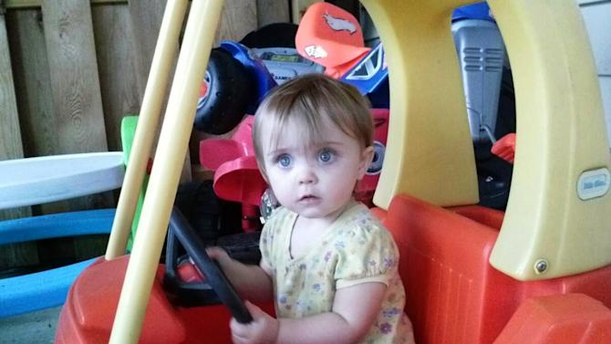 This recent but undated family photo shows 18-month-old Lana Bailey. The bodies of a woman and two men who were found slain on an eastern Kansas farm were those of a young mother who went missing last week with her daughter, Lana, and two men who lived there, authorities said Wednesday, May 8, 2013. (AP Photo/Family Photo)