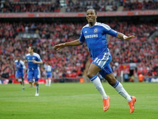 Chelsea's Didier Drogba celebrates scoring against Liverpool