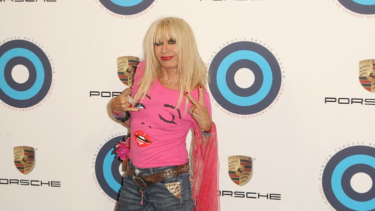 Fashion designer Betsey Johnson attends the CFDA's Fashion Targets Breast Cancer 20th Anniversary event at The Sky Room at The New Museum on Wednesday, Aug. 20, 2014 in New York. (Photo by Donald Traill/Invision/AP)