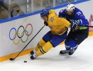 Sweden's Alexander Steen (20) fights off Slovenia's Ales Kranjc during the third period of their men's quarter-finals ice hockey game at the Sochi 2014 Winter Olympic Games February 19, 2014. REUTERS/Laszlo Balogh