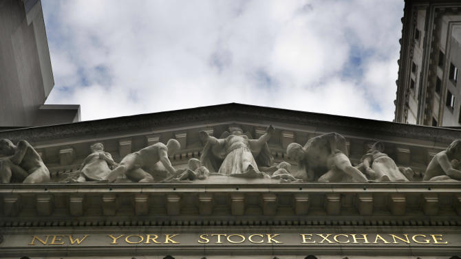 This Aug. 24, 2015, photo shows the facade of the New York Stock Exchange. Global stock markets fell sharply Tuesday, Sept. 1, 2015, and Wall Street was set to open lower as gloomy economic data from China and Japan augured further uncertainty for investors after a brutal August. (AP Photo/Seth Wenig)