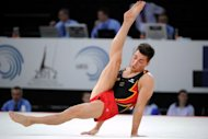 Germany's Philipp Boy competes on the floor during the European Men's Artistic Gymnastics Championships in May. Boy will be among Kohei Uchimura's challengers in London