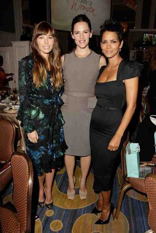 Jessica Biel, Jennifer Garner and Halle Berry celebrate at the Variety Power of Women luncheon on October 5, 2012.