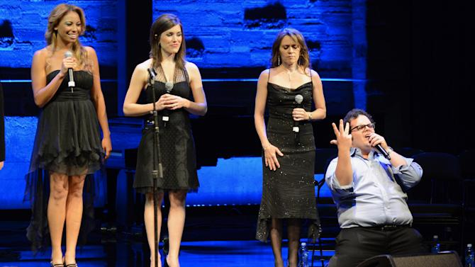 EXCLUSIVE CONTENT - Josh Gad, right, performs during the Backstage at the Geffen gala at the Geffen Playhouse on Monday, May 13, 2013, in Los Angeles. (Photo by Jordan Strauss/Invision for Geffen/AP Images)