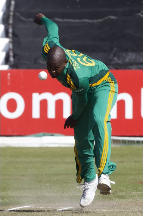 South Africa's Lonwabo Tsotsobe bowls during their fourth One Day International cricket match against Pakistan in Durban