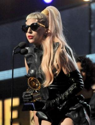 Lady Gaga accepts the Grammy for Best Pop Vocal Album onstage during The 53rd Annual Grammy Awards held at Staples Center on February 13, 2011 in Los Angeles -- Getty Images