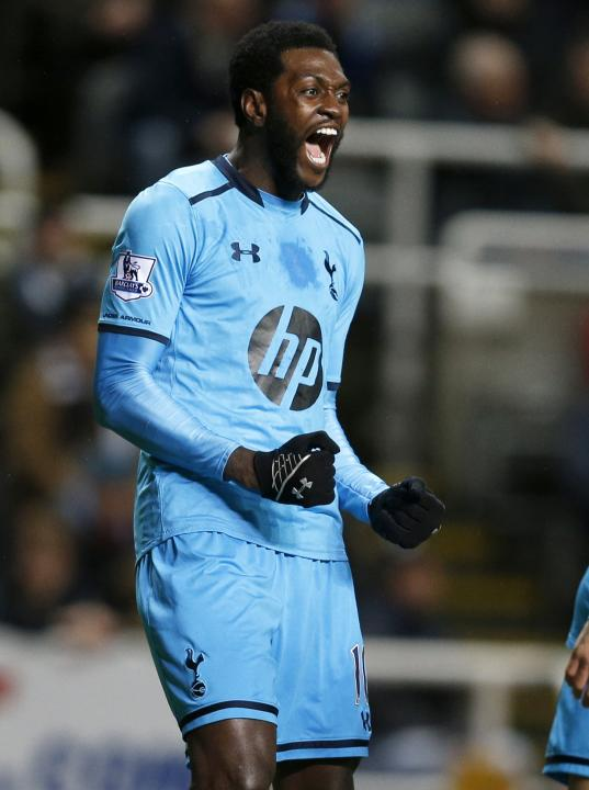 Tottenham Hotspur's Emmanuel Adebayor celebrates his goal against Newcastle United during their English Premier League soccer match at St James' Park in Newcastle